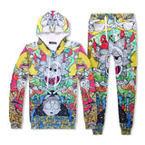 Funny Rick And Morty 3D Print Pull Over Hoodie & Sweatpants Suit