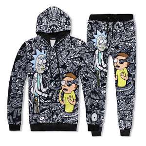 Unisex Rick And Morty 3D Print Fashion Casual Hoodie And Sweatpants Suit
