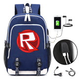 Roblox Big Capacity School Backpack Bookbag With USB Charging Port