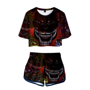Five Nights at Freddy's Girls Crop Top Shirt And Shorts Set