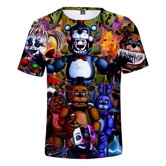 Five Nights at Freddy's Shirt 3D Print T-Shirt for Kids Adults