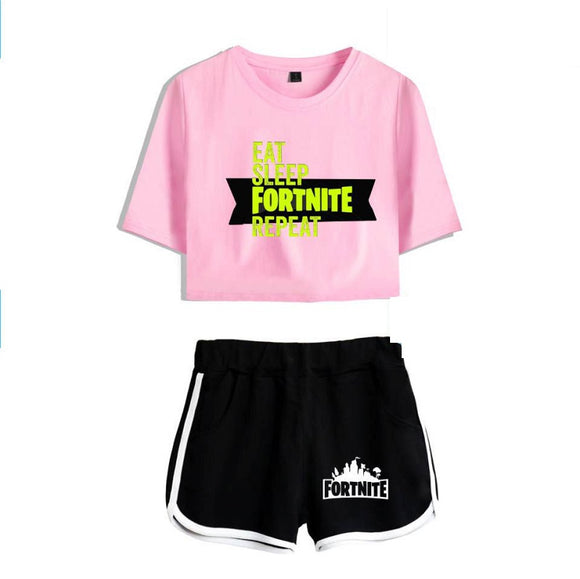 Fortnite Crop Top Shirt and Shorts Suit Jogger Suit