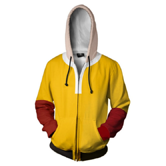 Anime One Punch Man Hoodies - Oppai Saitama Zip Up Hooded Sweatshirt