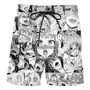 Anime Funny Hentai Ahegao Face Shorts Casual Pants Unisex