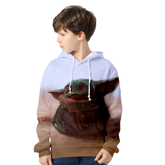 Kids The Mandalorian Baby Yoda 3D Print Pull Over Hoodie