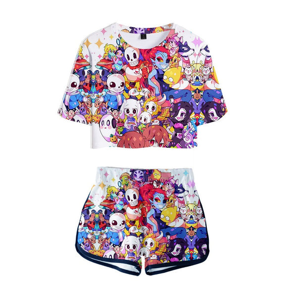 Undertale 3D Print Girls Women Crop Top Shirt and Shorts Set