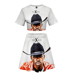 Lil Nas X High Waist Crop Top & 3D Print Skirt 2 Piece Sets