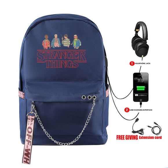 Stranger Things Usb Red Print Backpack Student School Bag