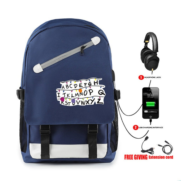 Stranger Things Zipper White Print Backpack With Usb Charge Port