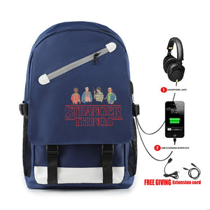 Hot Fashion Stranger Things Red Print Backpack With Usb Charge Port