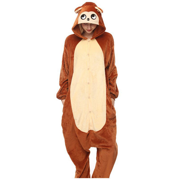 Adult Animal Onesis Pajamas Brown Monkey Kigurumi Halloween Cosplay Costume For Men&Women