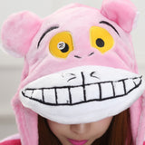 Adult Animal Onesis Pajamas Cheshire Cat Kigurumi Halloween Cosplay Costume For Men&Women