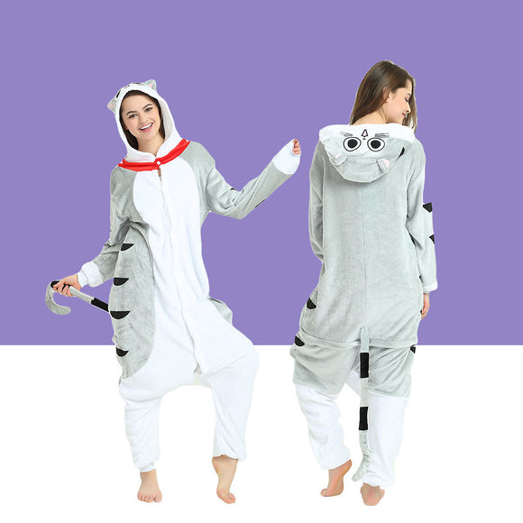 Adult Animal Onesis Pajamas  Chi : Une Vie De Chat Kigurumi Halloween Cosplay Costume For Men&Women