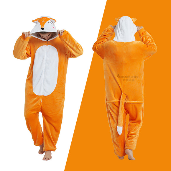 Adult Animal Onesis Pajamas Fox Kigurumi Halloween Cosplay Costume For Men&Women