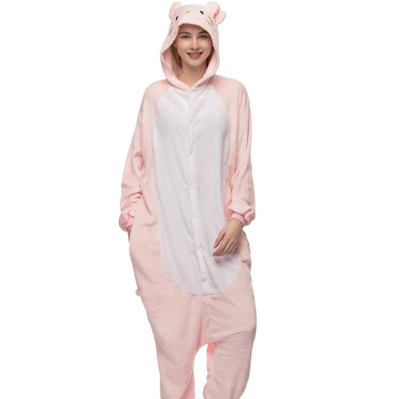 Adult Animal Onesis Pajamas Pink Cat Hello Kitty Kigurumi Halloween Cosplay Costume For Men&Women