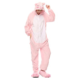 Adult Animal Onesis Pajamas Pink Pig Kigurumi Halloween Cosplay Costume For Men&Women
