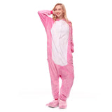 Adult Animal Onesis Pajamas Pink Rabbit Kigurumi Halloween Cosplay Costume For Men&Women