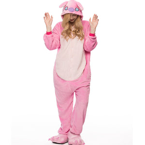 Adult Animal Onesis Pajamas Pink Stitch Kigurumi Halloween Cosplay Costume For Men&Women