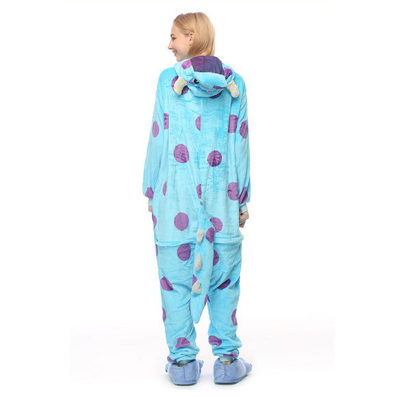 Adult Animal Onesis Pajamas Sulley Blue Cow Kigurumi Halloween Cosplay Costume For Men&Women