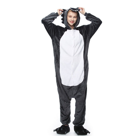 Adult Animal Onesis Pajamas  Wolf Kigurumi Halloween Cosplay Costume For Men&Women