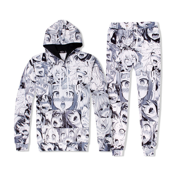 Anime Ahegao Outfits Hentai Ahegao Face Hoodies and Pants Suit