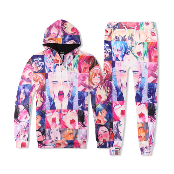 Anime Ahegao Outfits Hentai Ahegao Face Hoodies and Pants Suits