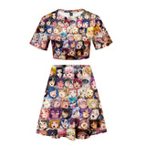 Anime Hentai Ahegao Face Funny Shirt Girls Blush Face Shirt and Skirt Suit Outfit