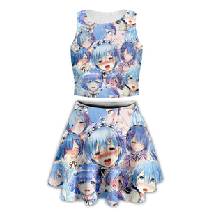 Anime Hentai Ahegao Face Funny Tank Shirts Girls Blush Face Crop Top Shirt and Skirt Suit Outfit