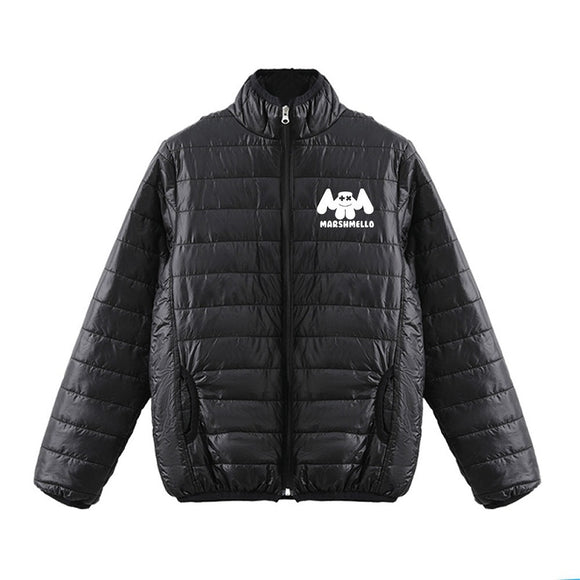DJ Marshmello 3D White Print Polo Neck Down Jacket