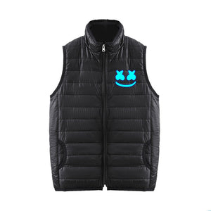 DJ Marshmello 3D Blue Print Sleeveless Vest Down Jacket