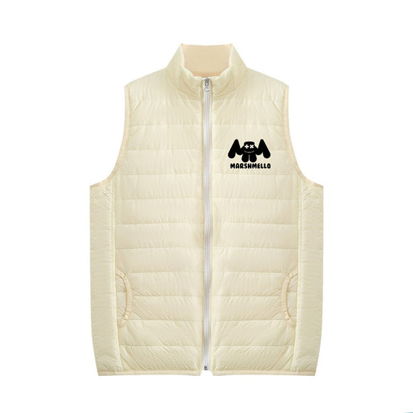 Unisex DJ Marshmello 3D Black & White Print Zipper Vest Down Jacket
