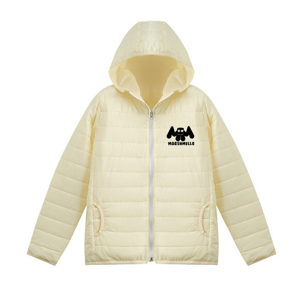 Unisex Marshmello Casual 3D White Print Hooded Down Jacket
