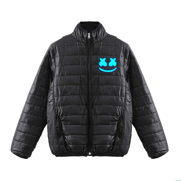 DJ Marshmello 3D Blue Print Polo Neck Zipper Down Jacket