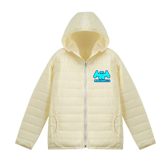 Unisex Marshmello Casual 3D Blue Print Hooded Down Jacket
