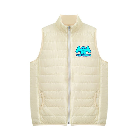 Unisex DJ Marshmello 3D Blue Print Zipper Vest Down Jacket