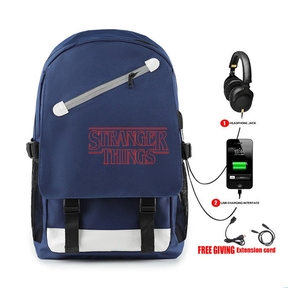 Stranger Things Zipper Red Print Backpack With Usb Charge Port