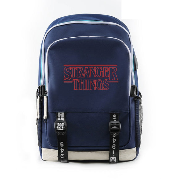 Unisex Stranger Things Red Print Back To School Backpack Book Bag