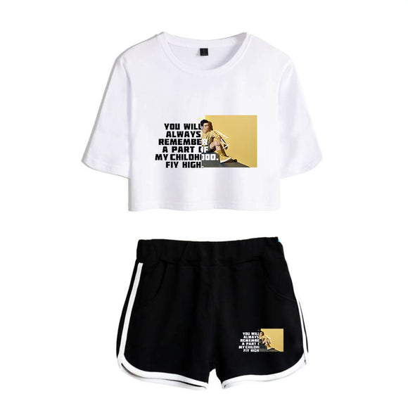 Cameron Boyce Girls Crop Top Shirt and Shorts Set