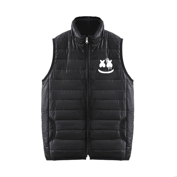 DJ Marshmello 3D Print Sleeveless Polo Neck Vest Down Jacket With Zipper