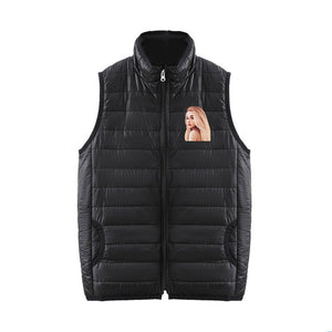 Ariana Grande 3D Brown Hair Print Sleeveless Down Jacket With Zipper