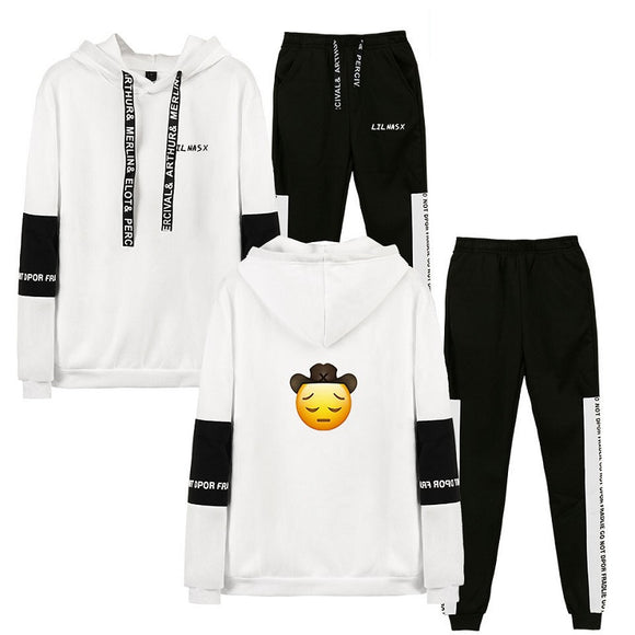 Lil Nas X 3D Print Pull Over Polyester Hoodies & Fashion Pants Two Piece Set