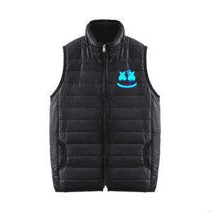 DJ Marshmello 3D Blue Print Sleeveless Polo Neck Vest Down Jacket