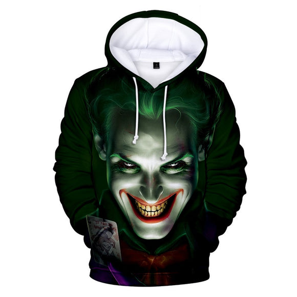 Haha Joker Sinister Smile 3D Print Pull Over Casual Hoodie