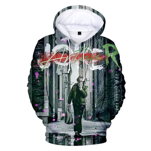 Hot Popular Arthur Fleck Joker 3D Print Pull Over Drawstring Hooded Hoodie