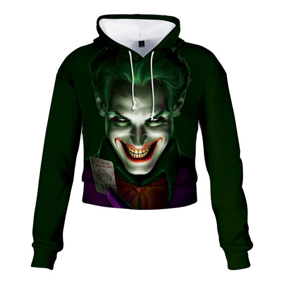 Hot Popular Joker Movie 2019 3D Print Crop Top Hoodie