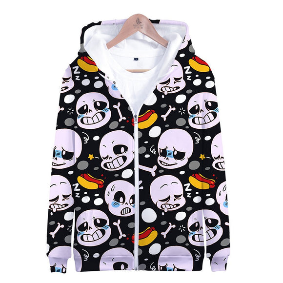 Undertale Unisex Youth Fashion Zipper Hooded Jacket Coat