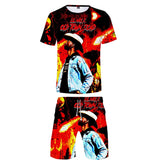 Lil Nas X Hip Hop T-shirt & Casual Adjustable Shorts Two-piece Set