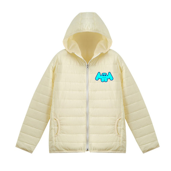 Unisex Marshmello Casual 3D Print Hooded Long Sleeves Down Jacket