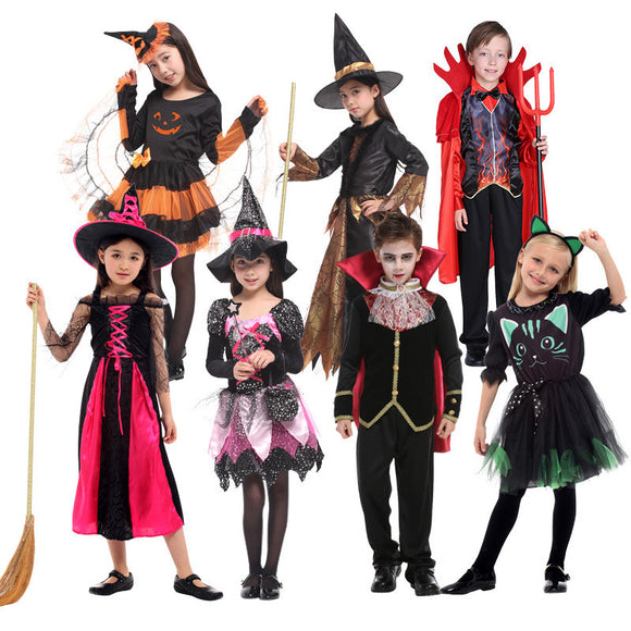 Halloween Kids Costume Vampire Witch Devil Costume For Children