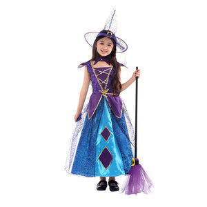 Halloween Kids Costume Witch Magician Costume For Girls
